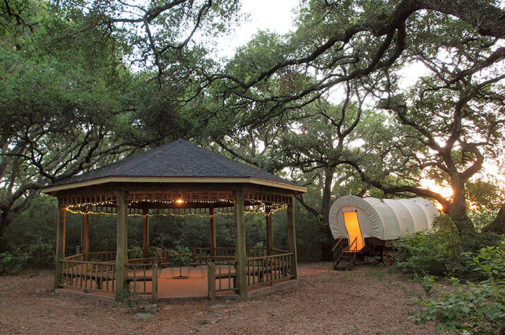 Conestoga Covered Wagon at BlissWood Bed and Breakfast Ranch Cat Spring TX